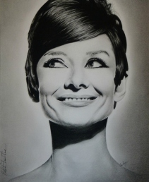 Audrey Hepburn Charcoal Drawing by N. Faulkner