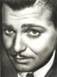 Clark Gable Charcoal Drawing by N. Faulkner