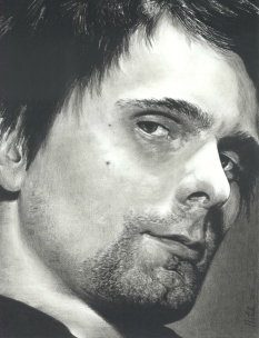 Matt Bellamy Charcoal Drawing by N. Faulkner
