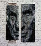 'The Left Side of Leonard Nimoy' Beaded Wide Cuff Bracelet with Buttonholes for a cufflink and a Removable Watch Face