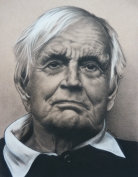 Old Man Black and White Charcoal Drawing on brown paper by N. Faulkner